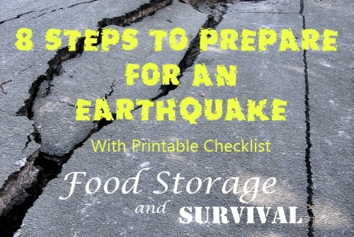 8 Steps to Prepare for an Earthquake with printable checklist!  Food Storage and Survival