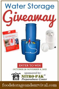 Water Prep Giveaway 10/28/13-11/4/13!  Food Storage and Survival