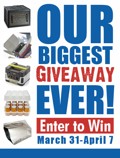 Super Mega Preparedness giveaway!  Ends 4/7/14  Enter NOW!  You need this stuff!