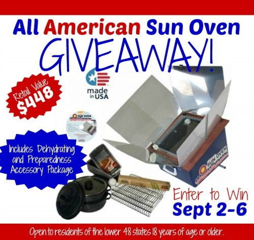 Win an All American Sun Oven! 9/2/14-9/6/14