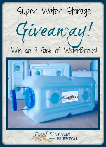 WaterBrick 8 pack giveaway!  Ends 8/11/14 - Food Storage and Survival