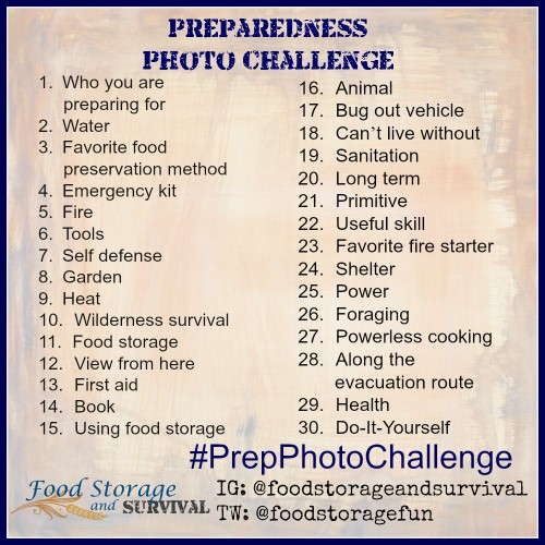 Join in the Preparedness Photo Challenge! Bust out your camera and get sharing!  Food Storage and Survival