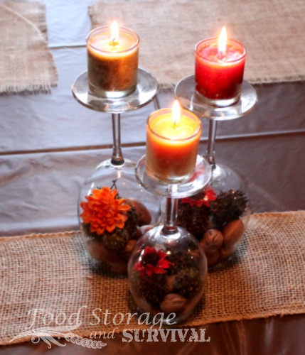 Quick and easy centerpieces from wine glasses and votive for Quick and inexpensive wedding decorations