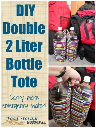 Carry more emergency water!  Easy DIY 2 liter bottle tote to easily carry two bottles in one hand or hook them to your bag!