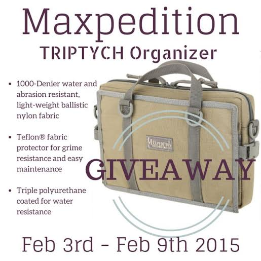 maxpedition tryptich organizer giveaway! Feb 3rd-9th 2015!