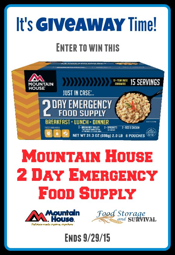 Mountain House 2 Day Emergency Food Supply Giveaway! Easy entry! Ends 9/29/15