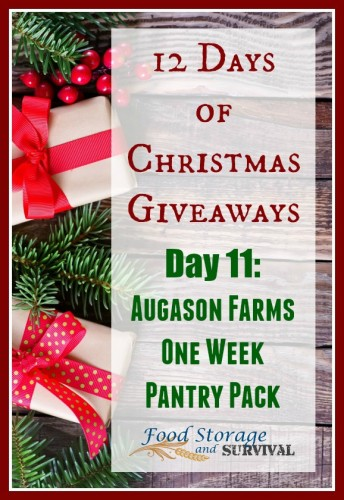12 days of Christmas Giveaways Day 11: Augason Farms 1 Week Pantry Pack!  Ends 12/13/15