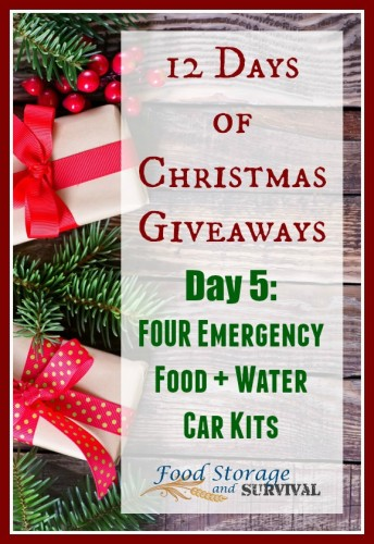 12 days of Christmas Giveaways! Day 5: Emergency food and Water kits for your car! Ends 12/7/15