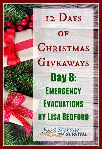 12 days of Christmas giveaways--Day 8: Emergency Evacuations by Lisa Bedford